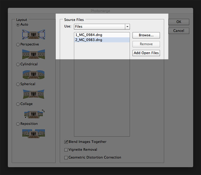 Add Open Files To Photomerge For Stitching Together