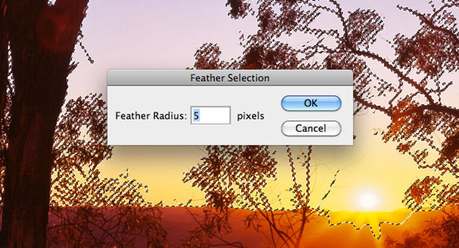 Photoshop Feather Selection Options