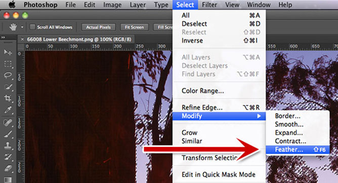 Photoshop Navigation - Select / Modify / Feather