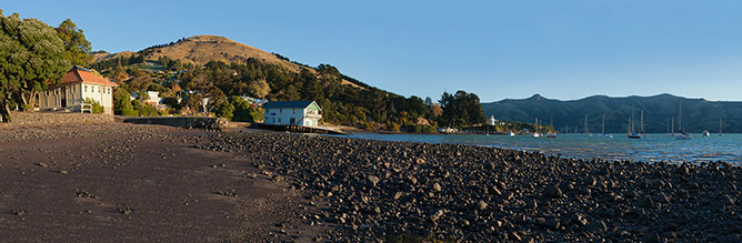 Panorama of Akaroa, South Island New Zealand