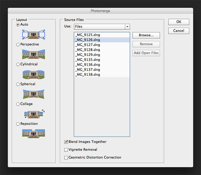 Photomerge Dialog Box