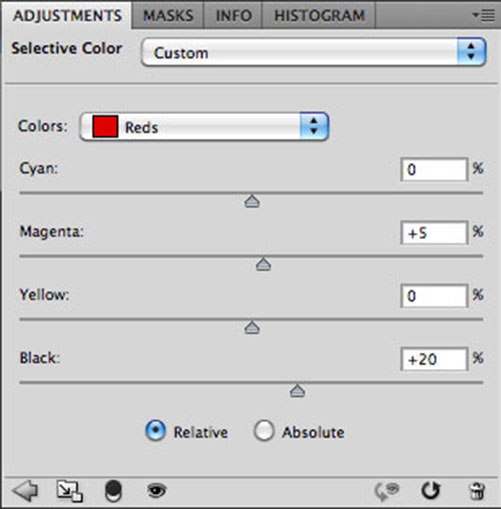 Photoshop Selective Color Settings