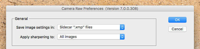 Adobe Camera Raw Preferences - General